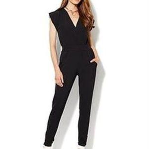 New York & Company City Crepe Jumpsuit Black M